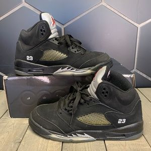 2011 Air Jordan 5 Retro Black Metallic Shoes Sz 7Y